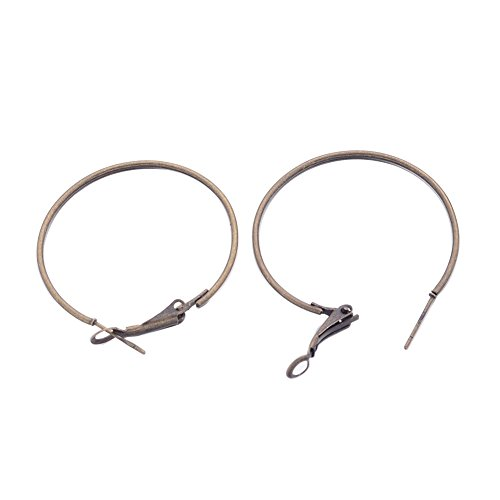 Pandahall 20pcs Antique Bronze Iron Wine Glass Charm Ring Hoop Earrings Nickel Free 35mm ()