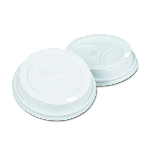 Dixie 10-20 oz. Dome Hot Coffee Cup Lid by GP PRO (Georgia-Pacific), White, 9542500DX,500 Count (10 sleeves of 50 lids) - Dome Dixie White
