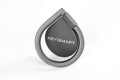 KeySmart Phone Loop - Aluminum Grip Ring & Stand (Black)