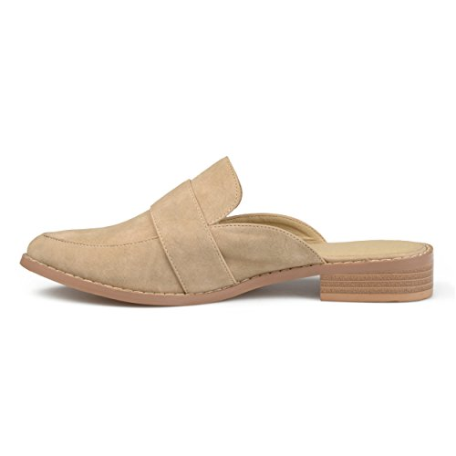 Leather Faux Brinley Slip Mules Co Toe Taupe Almond Womens On AggtHT