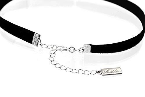 Arthlin White Glass Imitation Pearl Pendant on Black Velvet Choker Necklace for Women, Made in USA