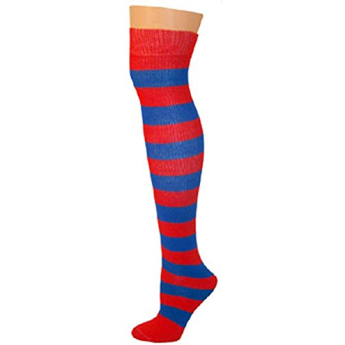 (AJs Adult Long Classic Knee High Striped Socks - Red/Blue, Sock size 11-13, Shoe Size 5 and)