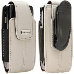 BlackBerry Blackberry Pearl White Leather Vertical Pouch With Belt Clip For Pearl 8100 Blackberry Pearl Belt Clip