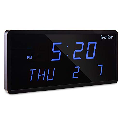 (Ivation Big Oversized Digital Blue LED Calendar Clock with Day and Date - Shelf or Wall Mount (12 inches - Blue)