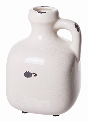 Red Co. Old Fashioned Aged Decorative Stoneware Jug with Handle, White Cream Crackled Finish, Small, 7-inch