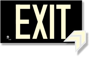 (NightBright USA Photoluminescent Exit Sign Black - Aluminum Code Approved UL 924 / IBC/NFPA 101)