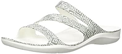Crocs Women's Swiftwater Graphic Sandal, Grey Diamond/White, W4