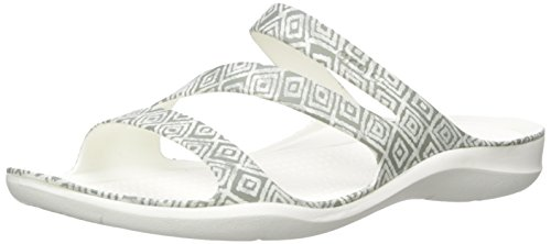 Swiftwater Size White Sandal Slip Women's 5 Grey on 5 Diamond Crocs Grey Graphic POgxwa