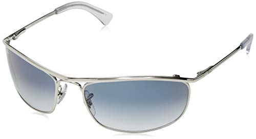 Ray-Ban Men's RB3119 Olympian Wrapped Rectangular Sunglasses, Silver/Blue Gradient, 62 ()