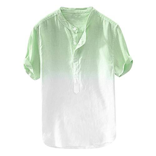 Sunhusing Refreshing Summer Men Thin Breathable Gradient Tie-Dyed