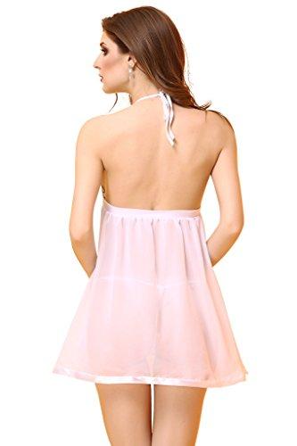 Smile YKK One Size Damen Unterwäsche Lingerie Babydoll Nachtkleid mit Unterhose Dessous-Sets Reizvolle Kostüm Weiss
