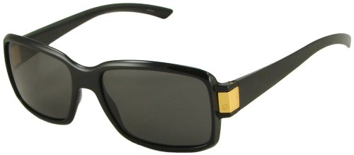 Gucci Sunglasses 1485/S, Classic Square, Glossy Black Frame/ Gray Lenses/ Gold Detail