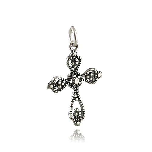 Filigree Cross Pendant - 925 Sterling Silver -Marcasite Look Ornate Charm NEW Jewelry Making Supply, Pendant, Charms, Bracelet, DIY Crafting by Wholesale ()