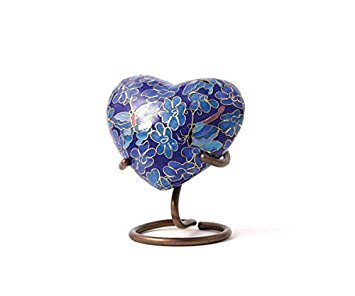 Butterfly Bronze Memorial Keepsake Urns - Extra Small - Holds Up to 3 Cubic Inches of Ashes - Cloisonne Blue Cremation Urn for Ashes