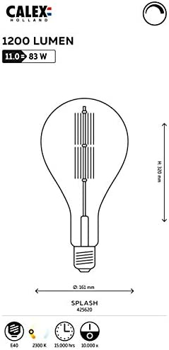 Calex Giant Splash LED-Filament Klar 11 W (ersetzt 100 W) E40