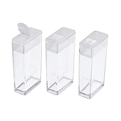Fashewelry 100pcs Plastic Flip Top Seed Bead Storage Containers 1.97x1.06