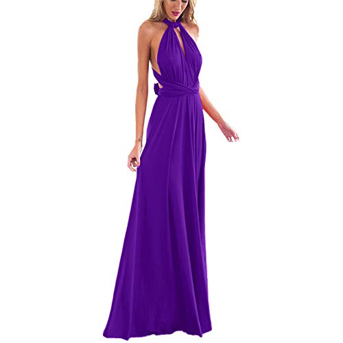 Women's Transformer Convertible Multi Way Wrap Long Prom Maxi Dress V-Neck Hight Low Wedding Bridesmaid Evening Party Grecian Dresses Boho Backless Halter Formal Cocktail Dance Gown Purple Small