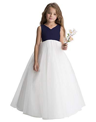 New Girl Wedding Flower Dress - Gdoker Tulle Flower Girl Dress, Chiffon Wedding Party Pageant Dresses for Girls, Long Junior Bridesmaid Dress A-Line
