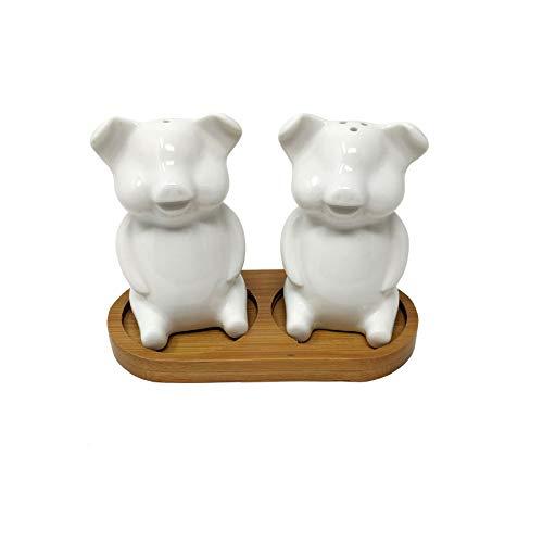 Salt Pig Cream - Cream Pigs Sitting Ceramic Salt And Pepper Cruet Set With Bamboo Holder