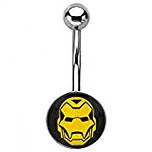 Marvel Iron Man Yellow Face 14G Stainless Steel Belly Button Ring