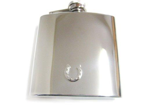 6 Oz. Stainless Steel Flask with Horse Shoe Pendant (Jewelry Large Horseshoe)