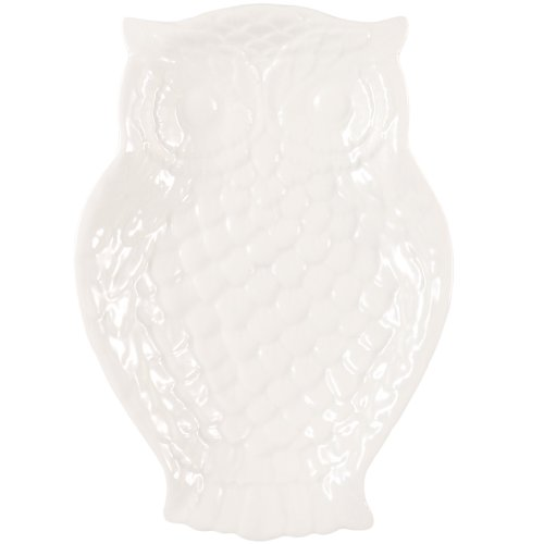 Cream White Embossed Owl Serving Plate 7 Inch x 5 Inch Dish Andrea by Sadek