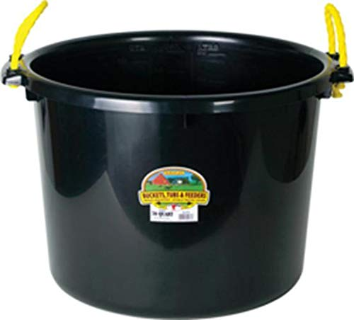 Miller Manufacturing PSB70BLACK Muck Tub/Bucket for Horses, 70-Quart, Black