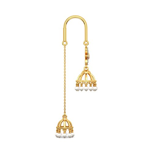 14K Or jaune 0,13CT TW White-diamond (IJ   SI) et blanc perle et rubis Boucles d'oreilles pendantes