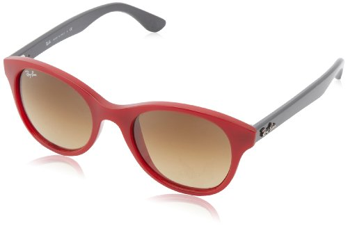 Ray-Ban NYLON UNISEX SUNGLASS - RED Frame BROWN GRADIENT DARK BROWN Lenses 51mm - Ray Red Bans Sunglasses