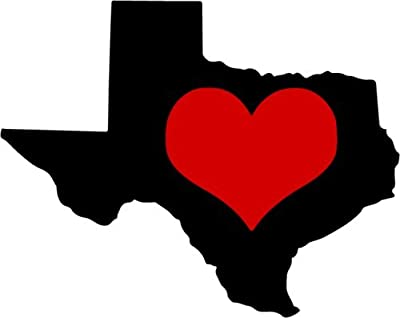 HEART IN TEXAS State Pride Vinyl Decal Sticker - Great for Truck Car Bumper or Tumbler - Perfect Texan State Gift, Made in the USA