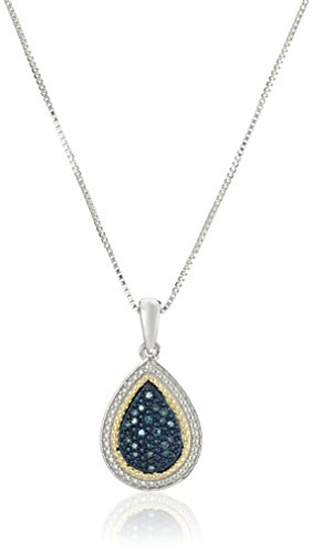 Sterling Silver Blue Diamond Pear Shape Pendant Necklace, (Diamond Pear Shape Pendant)