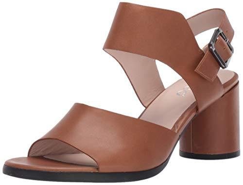 (ECCO Women's Women's Shape 65 Block Strap Heeled Sandal Camel Calf 39 M EU (8-8.5)