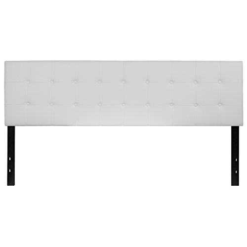 King Size Modern Headboard - Flash Furniture Lennox Tufted Upholstered King Size Headboard in White Vinyl