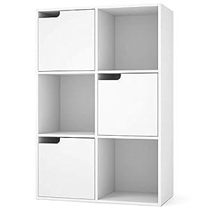 Homfa Meuble de Rangement Bibliothèque Etagère en Bois Casiers avec Portes pour pour Salon Chambre Bureau Blanc (6 Cubes…
