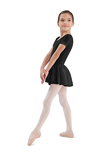 Bloch Dance Girls Tiffany Short Sleeve Leotard with Skirt, Black, Size 8-10