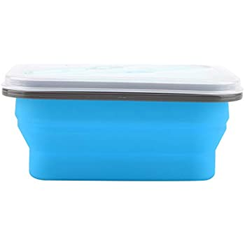 Bento Lunch Box, 600ml Silicone Collapsible Portable Lunch Box Bowl Folding Food Storage Container Microwave Bento Box (Blue)
