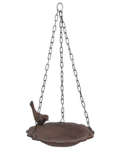 Hanging Birdbath Feeder Cast Iron Patio Garden Yard (Feeder Upper)