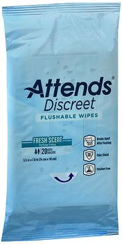 Attends Discreet Flushable Wipes Fresh Scent - 48 pks of 20