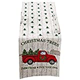Winter Wonder Christmas Table Runner Retro Red Pickup Truck with Christmas Trees 13 x 72 inches
