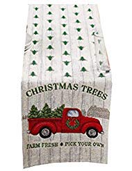 Winter Wonder Christmas Table Runner Retro Red Pickup Truck with Christmas Trees 13 x 72 inches -