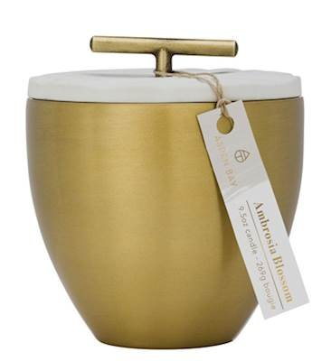 Aspen Bay AMBROSIA BLOSSOM Metal Austin Cup 9.5 Ounce Signature Collection Scented Jar Candle