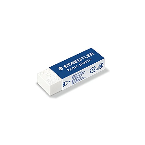 STAEDTLER Mar Plastic Pencil Eraser Dust Free 526 50, White Cube Color, Pack 20 pcs by OriginalFromThailand (Image #1)