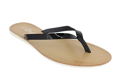 Buyazzo Damen Sommer Sandalen Sandaletten Zehentrenner Strandschuhe Slipper BAEM112 (37, Weiss)