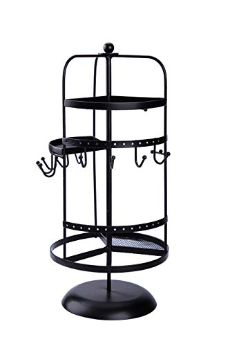 AmigasHome 14.5 Inch Tall Premium Metal Swivel Jewelry Display Organizer with 12 Hooks, 30 Earring Holes 3 Spacious Ring Trays - Black