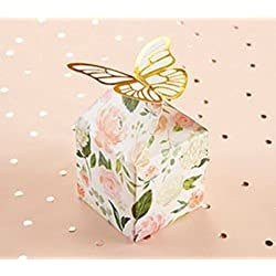 Kate Aspen, Butterfly Floral Favor Box, Gift Box, Perfect Favors for Bridal Shower, parties (Set of 12)