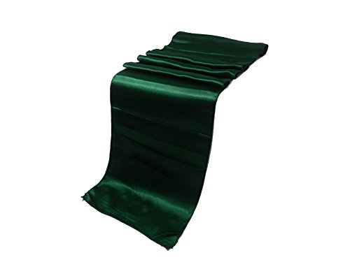 ELINA'S Pack OF10 Wedding 12 x 108 inch Satin Table Runner Wedding Banquet Decoration- (Green)