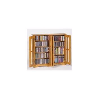 Leslie Dame M 380 Wall Mounted Mission Style Media Storage Cabinet, Oak
