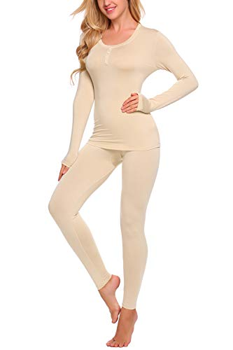 Yozly Thermal Underwear Womens Henley Long Johns Sets Base Layer Top & Bottom S-XXL (Nude,S) by Yozly