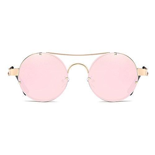 UV400 metálico Gafas redondas sol hibote lente Gafas del retro Steampunk la C3 del reflector de marco de de del sol f44XwqS7