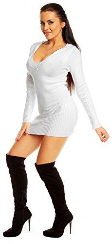 Zeta Ville–De Las Mujeres Elástico Jersey de punto sudadera con capucha Mini-Dress–�?21z blanco